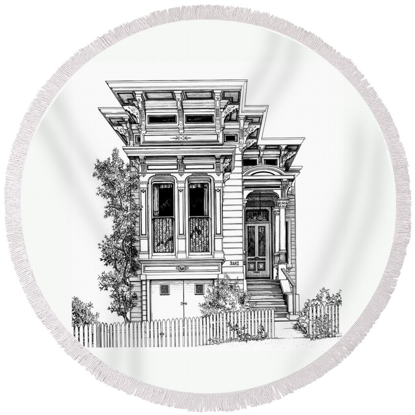 Pen And Ink Round Beach Towel featuring the drawing San Fracisco Victorian2 by Mary Palmer
