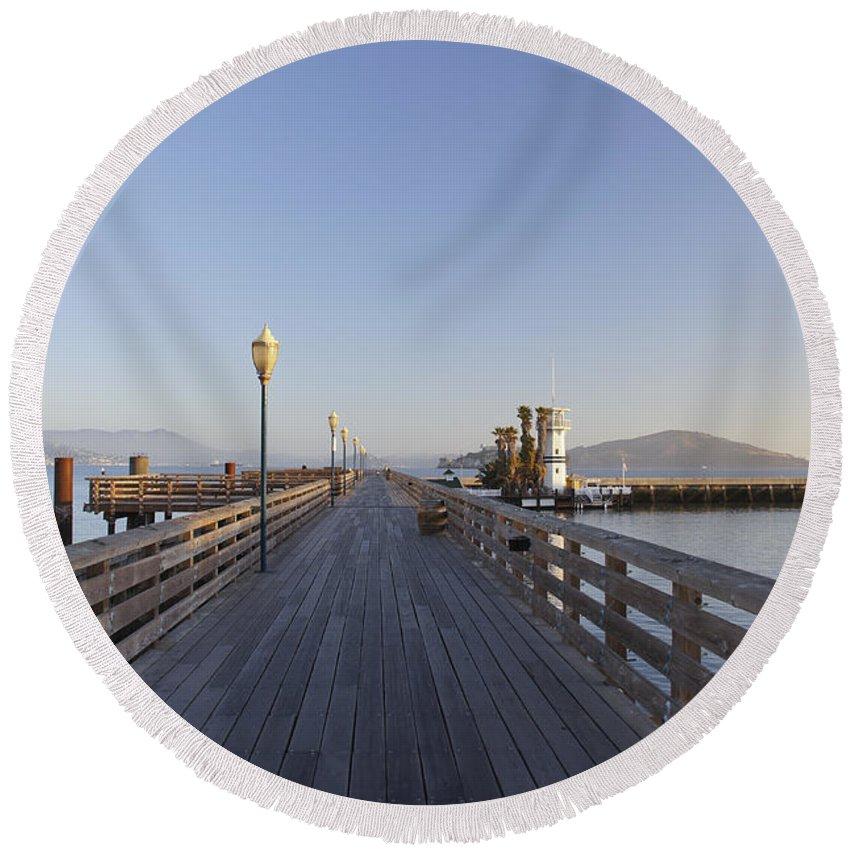 San Francisco County Round Beach Towel featuring the photograph San Francisco Pier by Brian Kamprath