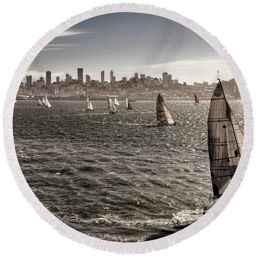 San Francisco Round Beach Towel featuring the photograph San Francisco Sails by Diana Powell