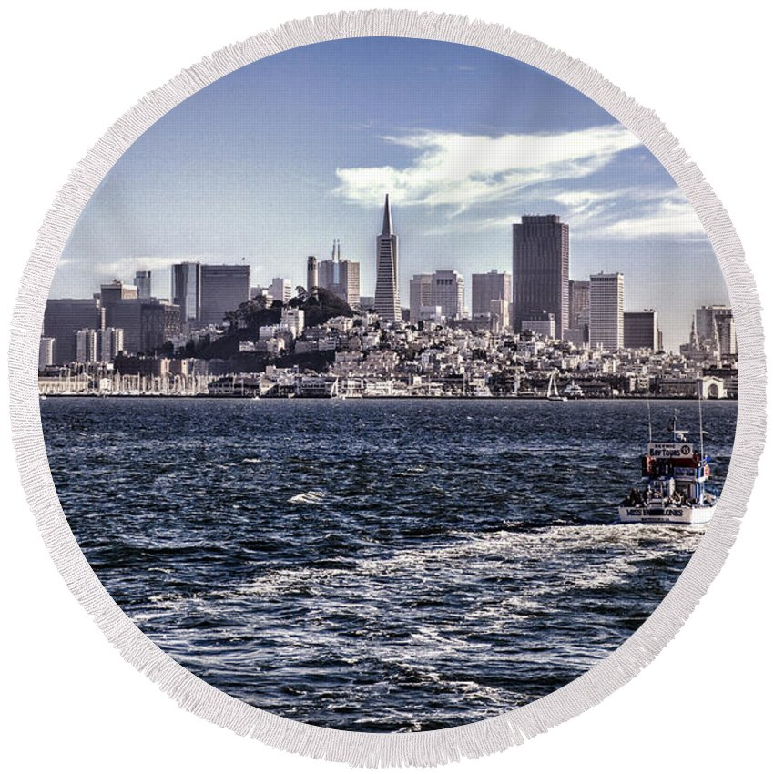 San Francisco Round Beach Towel featuring the photograph San Francisco Skyline by Diana Powell