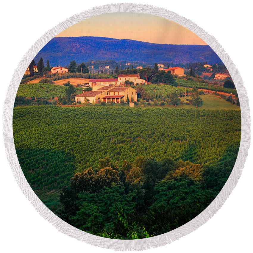 Europe Round Beach Towel featuring the photograph San Gimignano Vineyards by Inge Johnsson