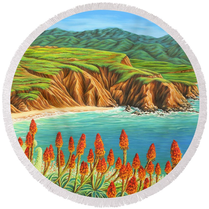 Ocean Round Beach Towel featuring the painting San Mateo Springtime by Jane Girardot