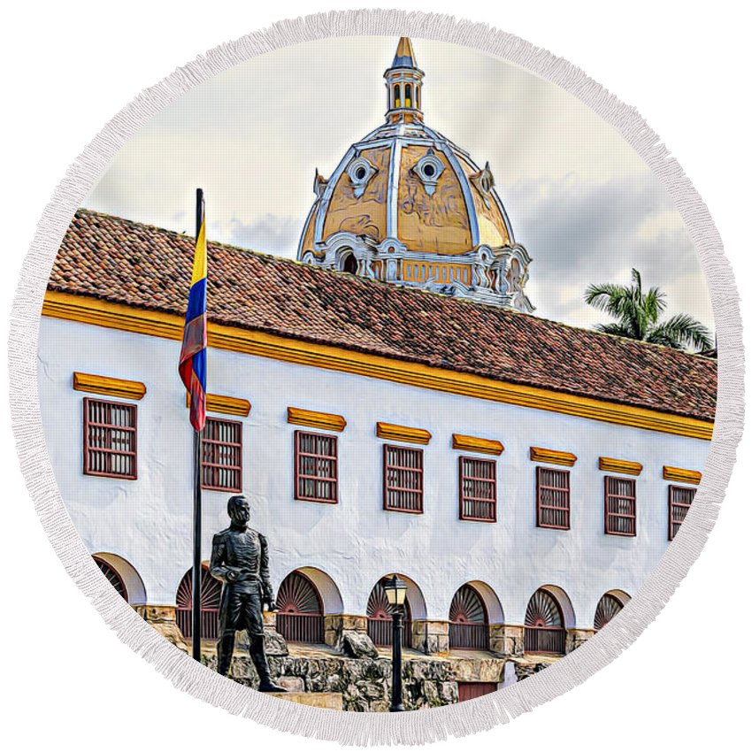 South American Round Beach Towel featuring the photograph San Pedro Claver Monastery by Maria Coulson