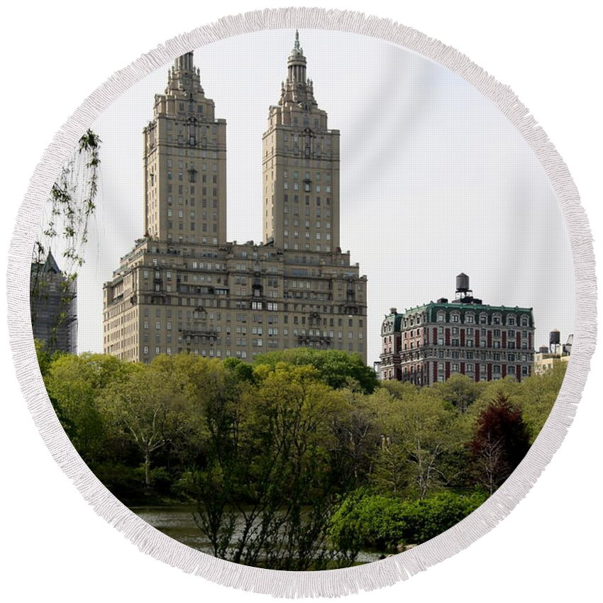San Remo Towers Round Beach Towel featuring the photograph San Remo Towers Nyc by Christiane Schulze Art And Photography