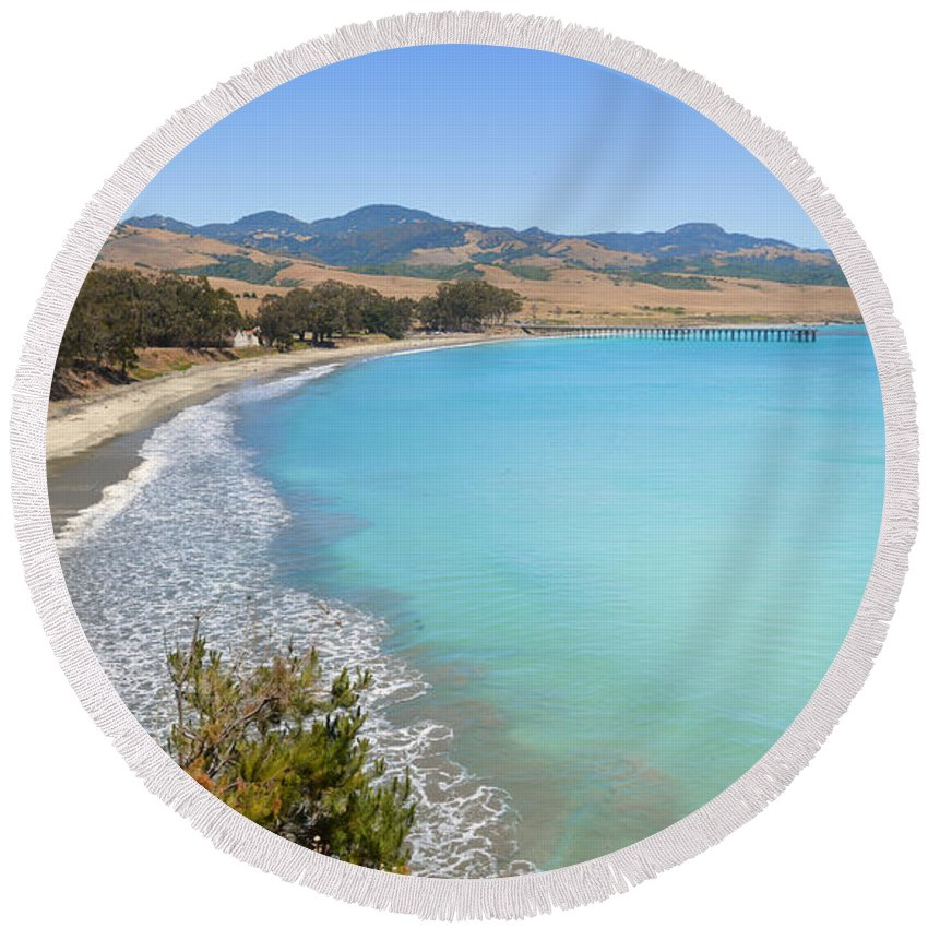Blue Round Beach Towel featuring the photograph San Simeon Bay by Lynn Bauer