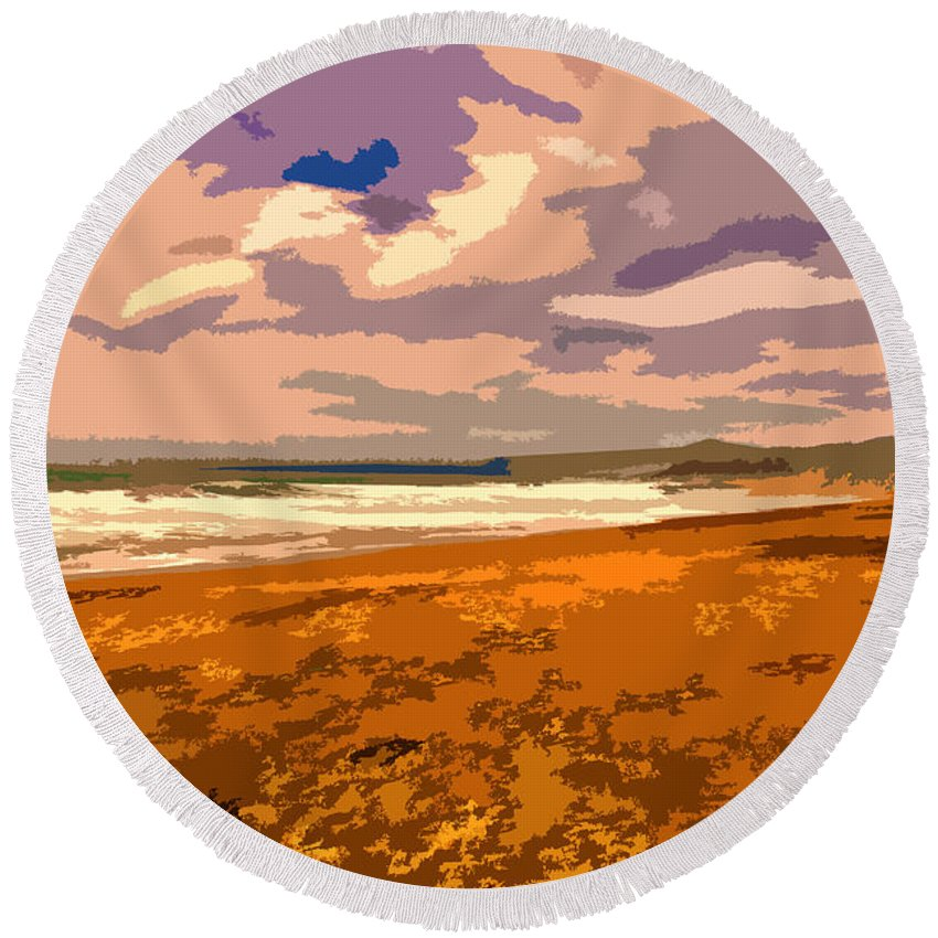 Ocean Round Beach Towel featuring the photograph San Simeon by Stefan H Unger
