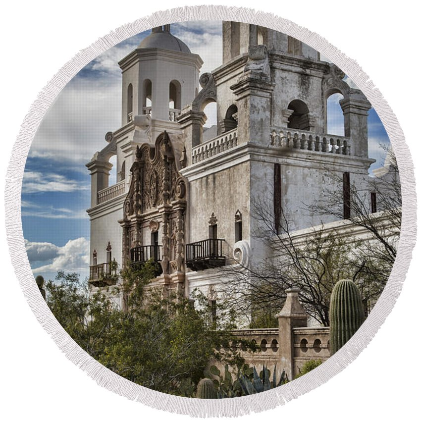 Mission Round Beach Towel featuring the photograph San Xavier Del Bac by Stephen Stookey