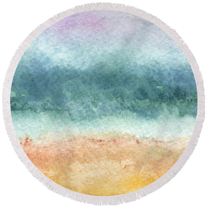 Abstract Round Beach Towel featuring the painting Sand and Sea by Linda Woods