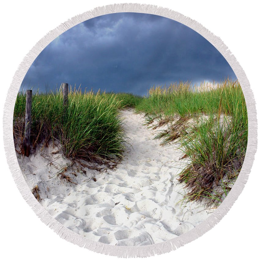 Beach Round Beach Towel featuring the photograph Sand Dune Under Storm by Olivier Le Queinec