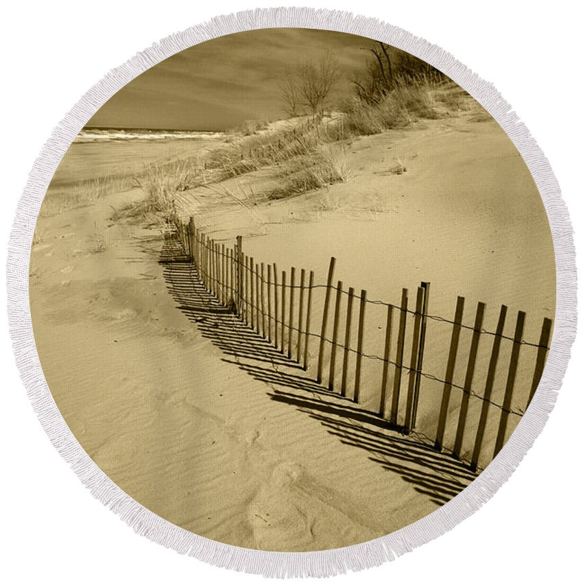 Sand Dunes Round Beach Towel featuring the photograph Sand Dunes And Fence by Timothy Johnson
