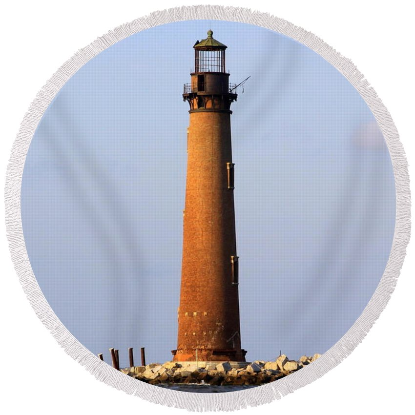 Lighthouse Round Beach Towel featuring the photograph Sand Island Lighthouse - Alabama by Travis Truelove