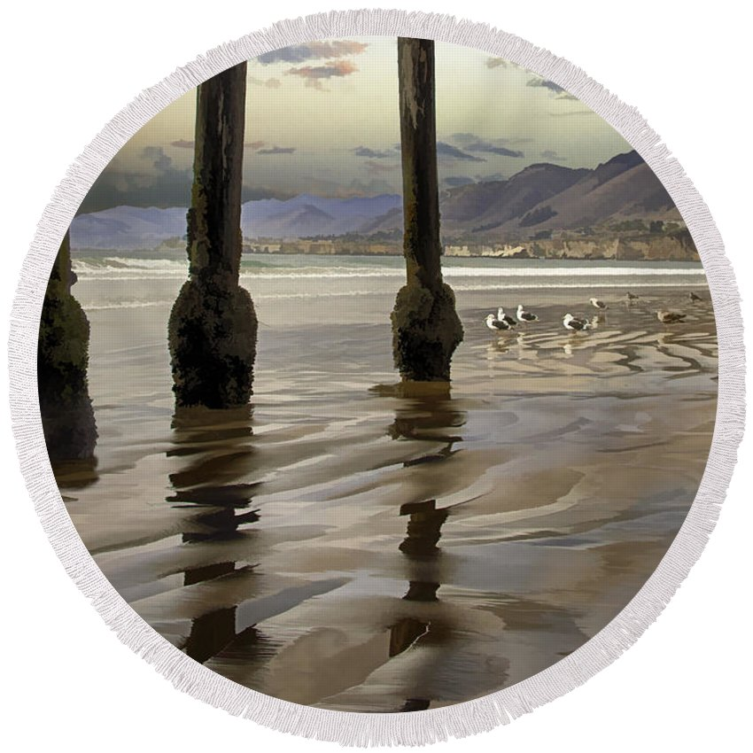 Pismo Beach Round Beach Towel featuring the digital art Sand Ripples by Sharon Foster