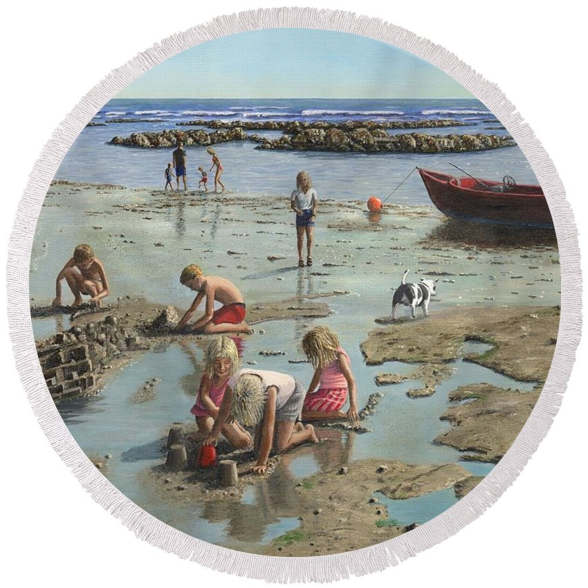 Landscape Round Beach Towel featuring the painting Sandcastles by Richard Harpum