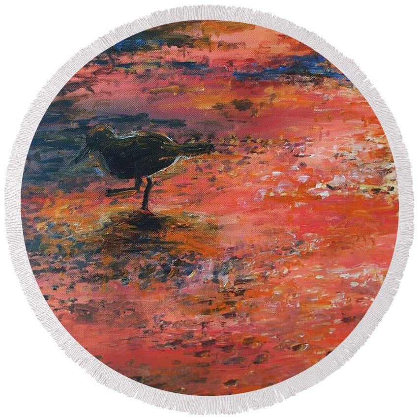 Beach Round Beach Towel featuring the painting Sandpiper Cape May by Eric Schiabor