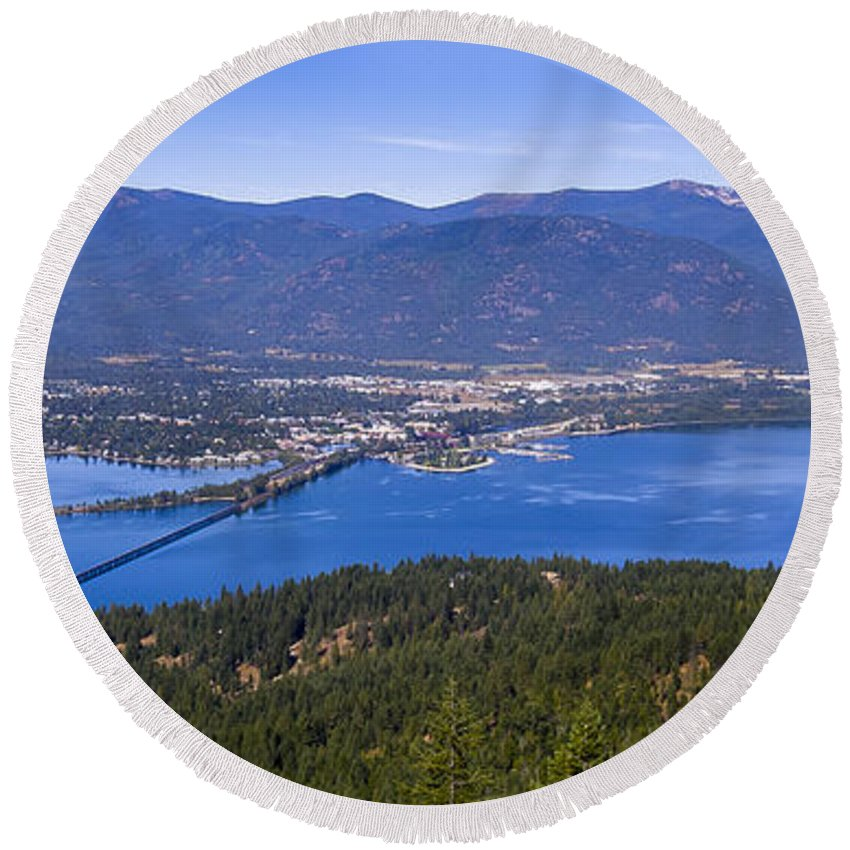 North Idaho Round Beach Towel featuring the photograph Sandpoint From Trail 3 - 110923-021 by Albert Seger