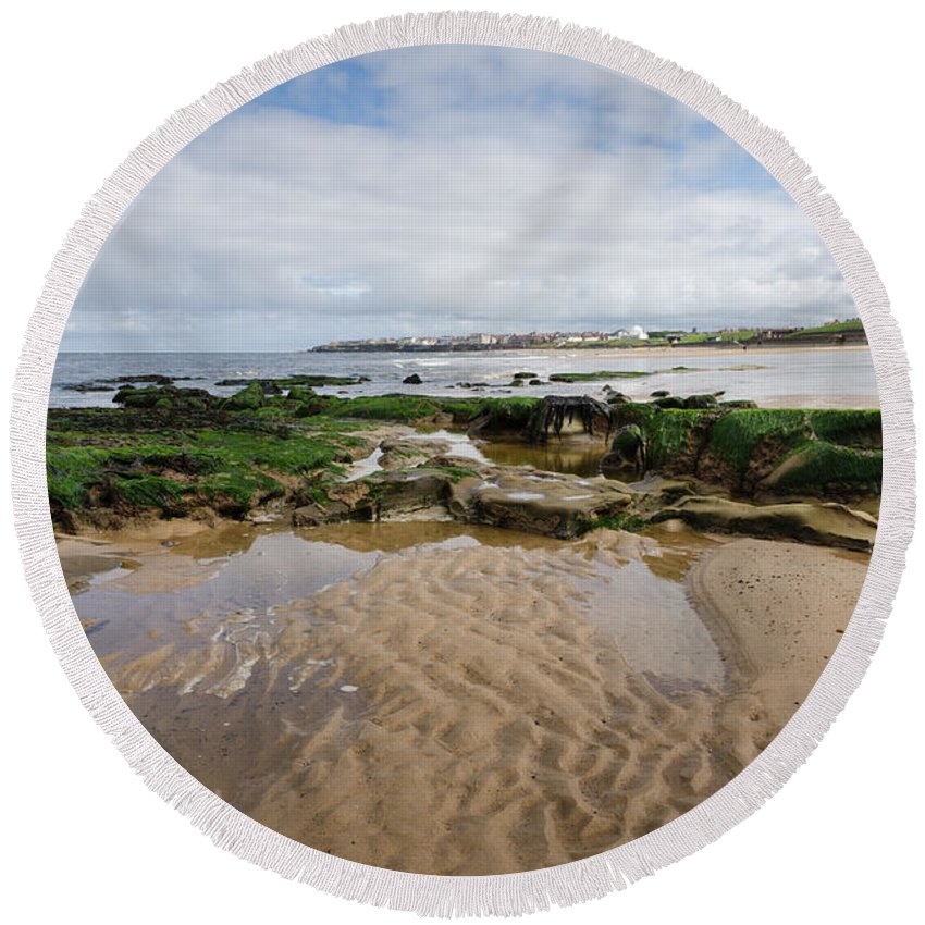 Architecture Round Beach Towel featuring the photograph Sands Of Whitley Bay by David Head