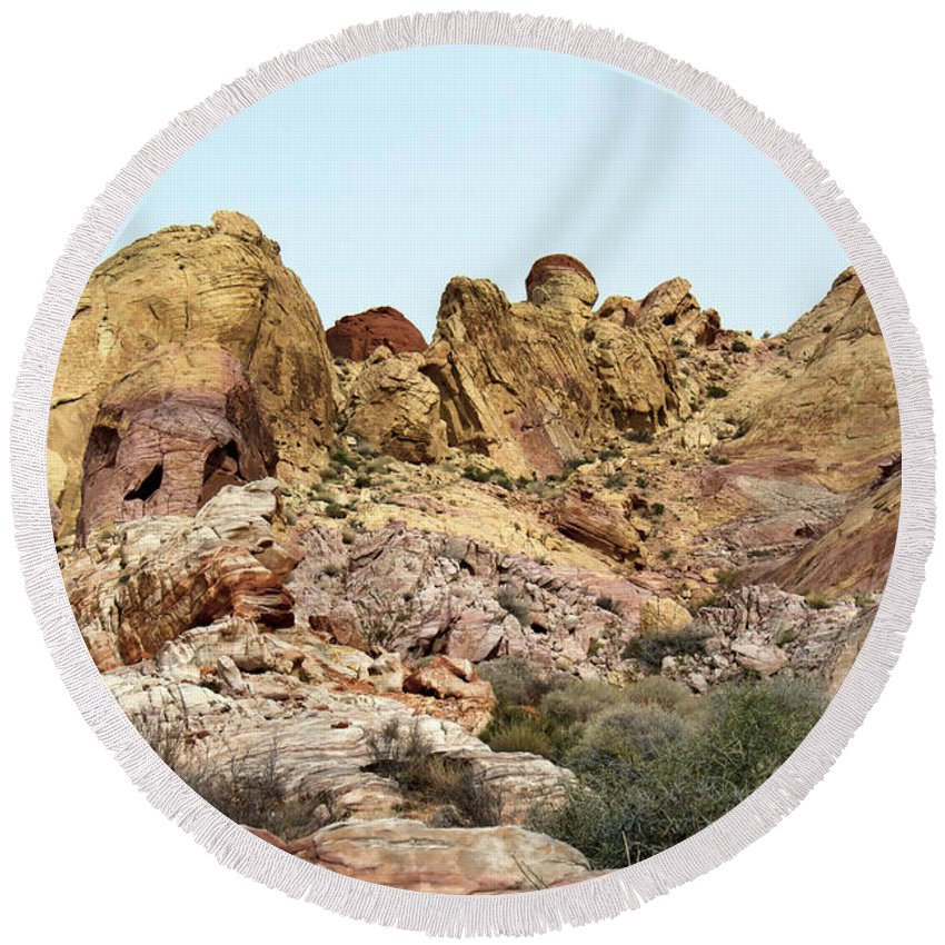 White Domes Trail Round Beach Towel featuring the photograph Sandstone by Debby Richards
