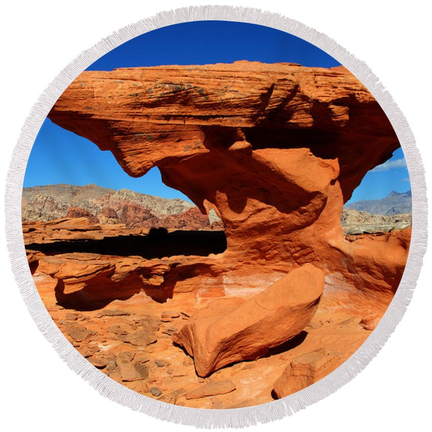 Beauty Of Sandstone Round Beach Towel featuring the photograph Sandstone Landscape by Bob Christopher