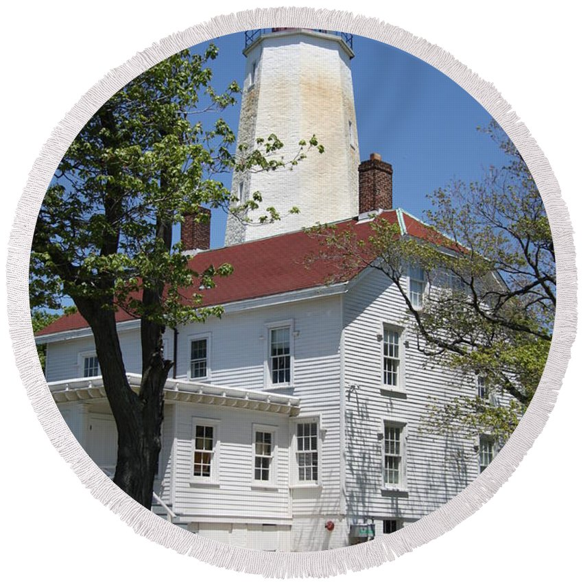 Lighthouse Round Beach Towel featuring the photograph Sandy Hook Lighthouse Iv by Christiane Schulze Art And Photography