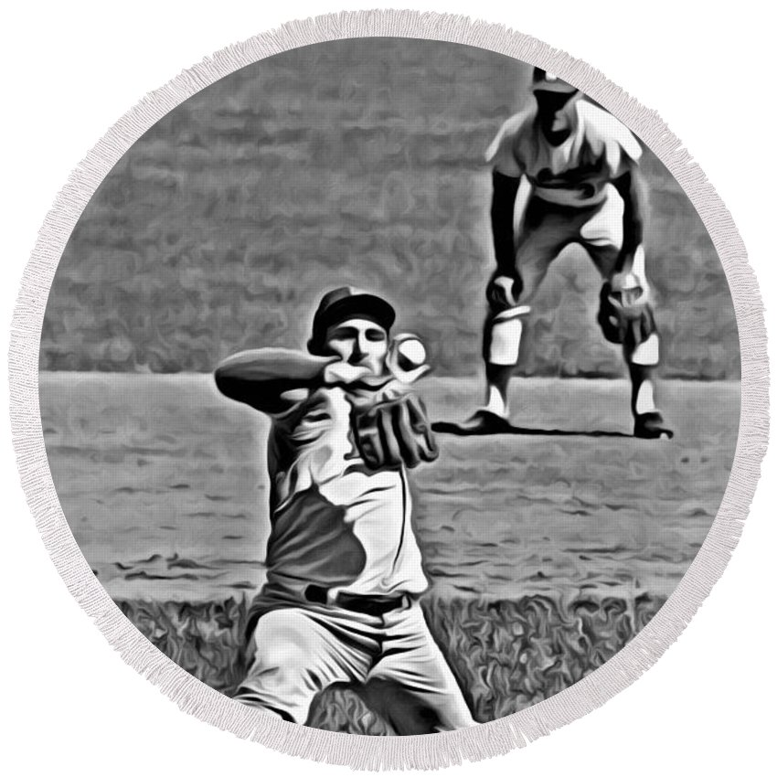 Mlb Round Beach Towel featuring the painting Sandy Koufax Painting by Florian Rodarte