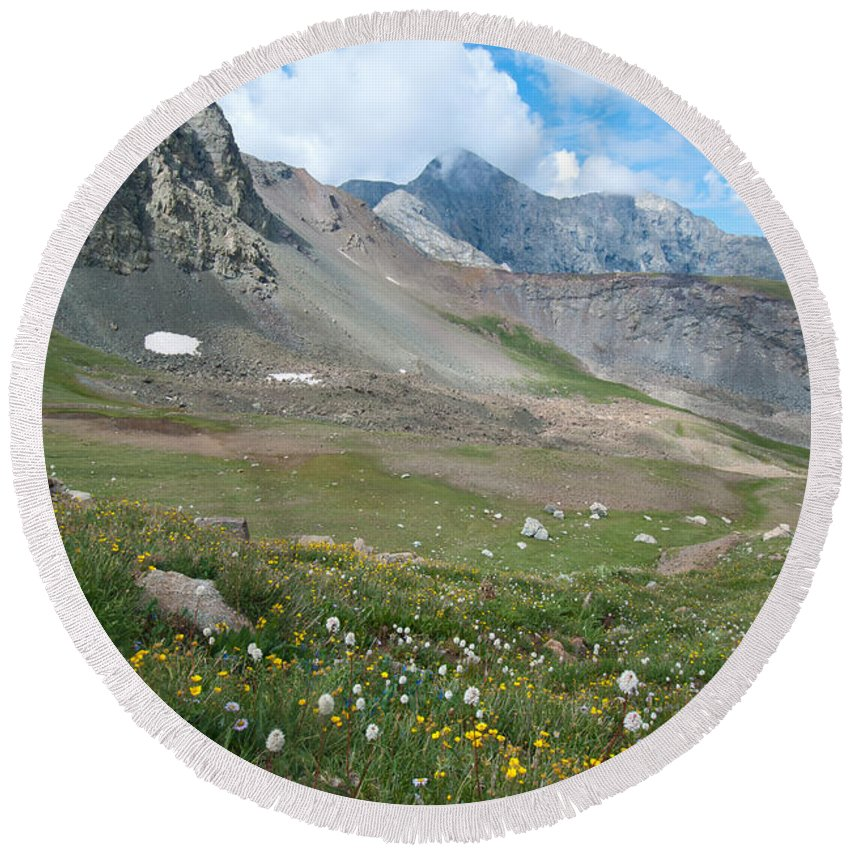 Landscape Photography Round Beach Towel featuring the photograph Sangre De Cristos Meadow And Mountains by Cascade Colors