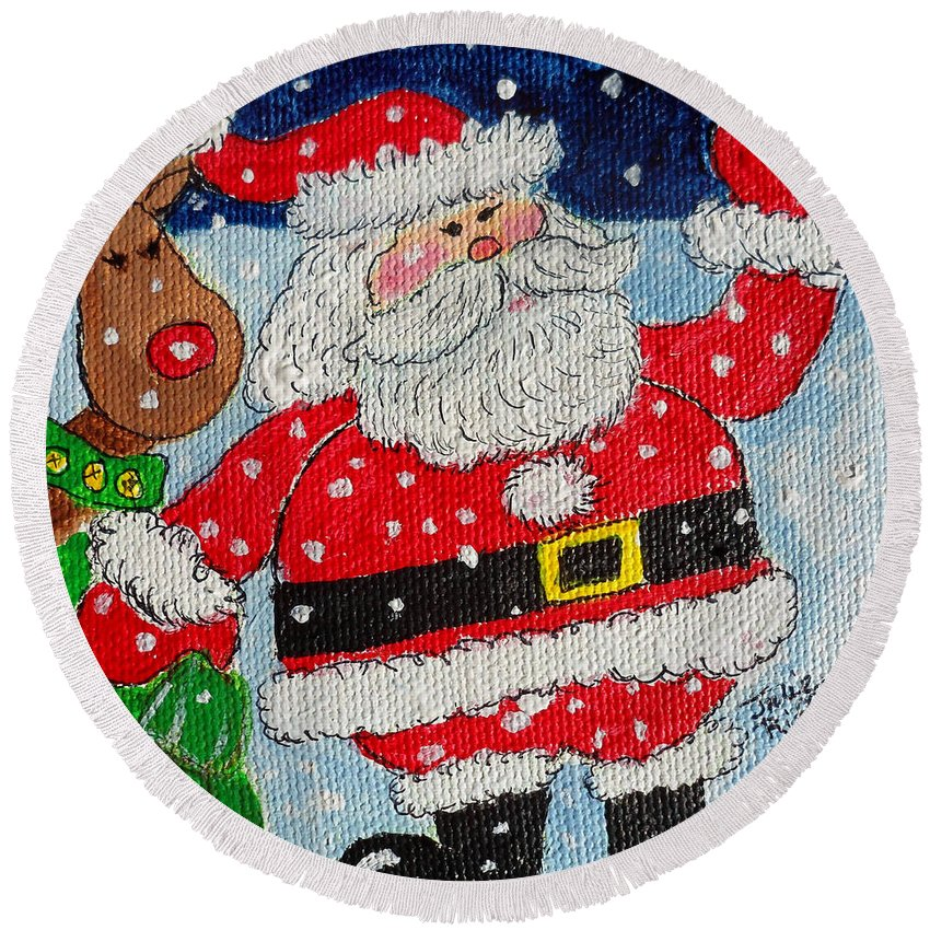 Santa Round Beach Towel featuring the painting Santa And Rudolph by Julie Brugh Riffey