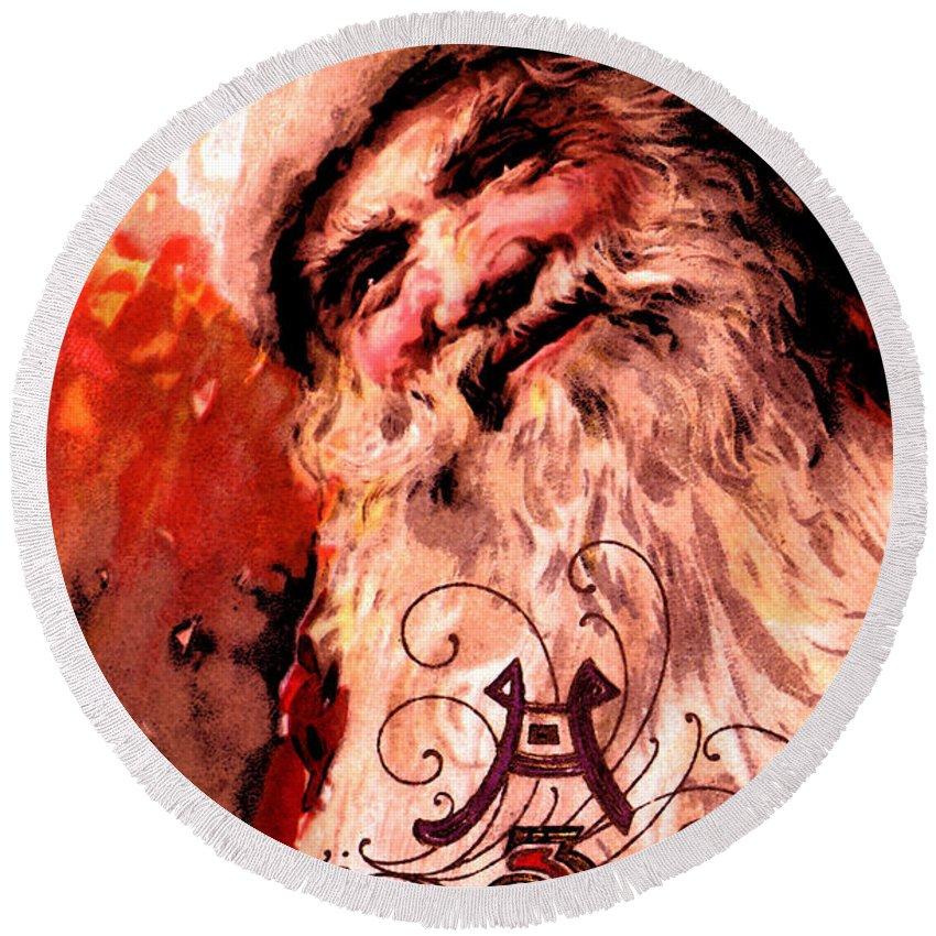Santa Round Beach Towel featuring the digital art Santa Clause Vintage Poster A Joyful Christmas by R Muirhead Art