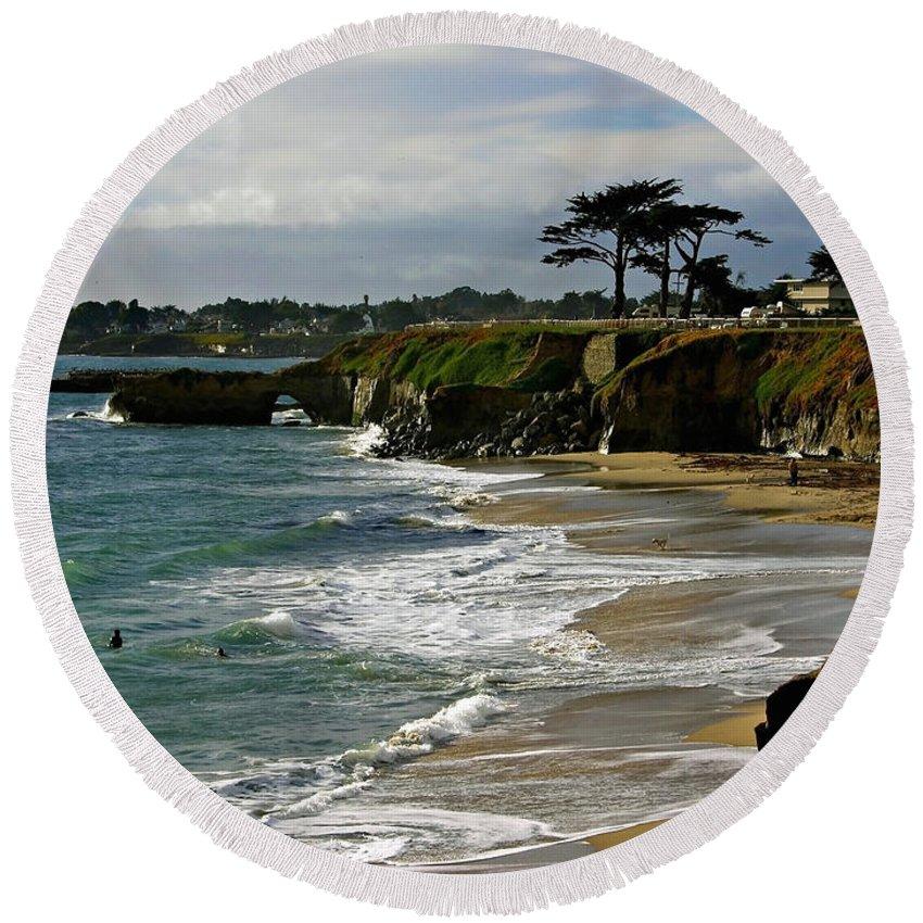 Santa Cruz Round Beach Towel featuring the photograph Santa Cruz Beach by Carol Groenen