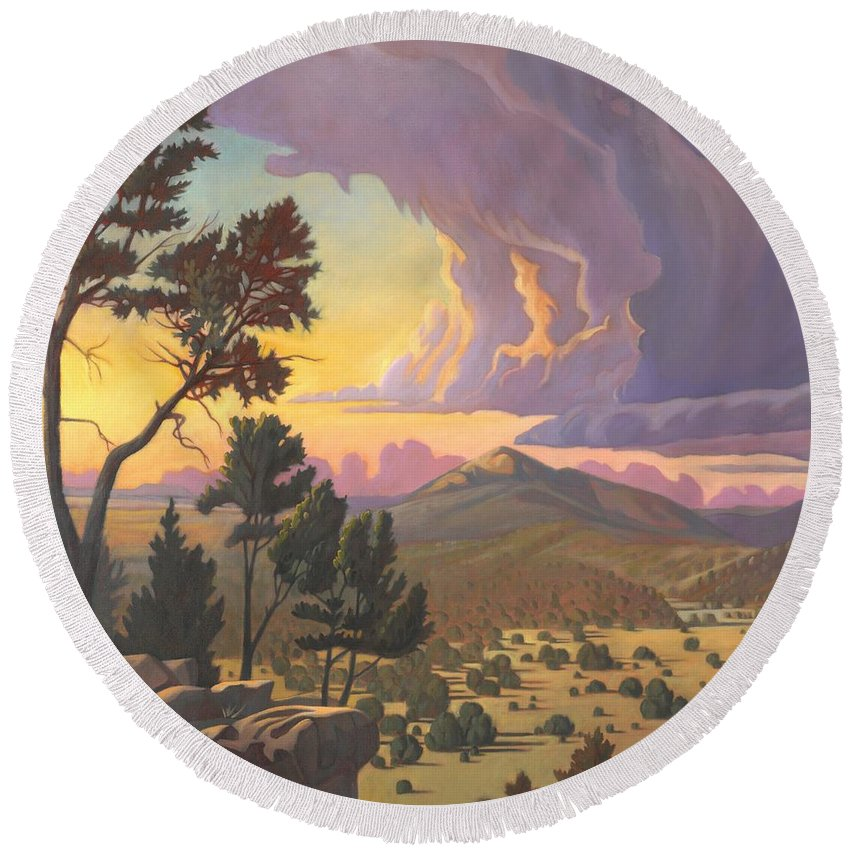 Santa Fe Round Beach Towel featuring the painting Santa Fe Baldy - Detail by Art James West