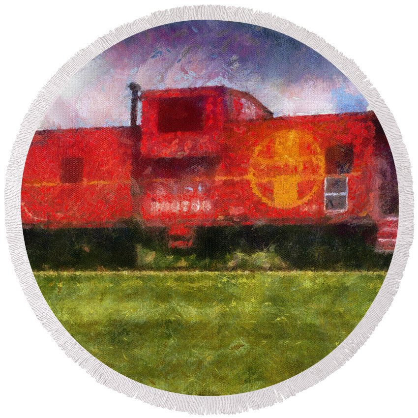 Santa Fe Round Beach Towel featuring the photograph Santa Fe Caboose Photo Art 02 by Thomas Woolworth