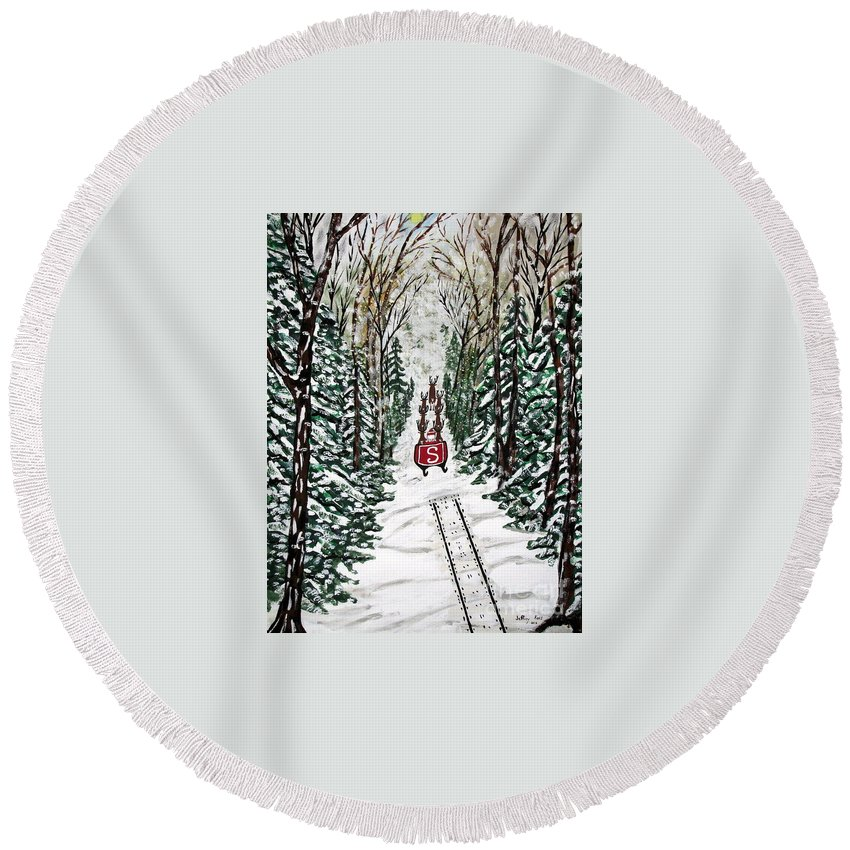 Santa Round Beach Towel featuring the painting Santa Flying To Your House by Jeffrey Koss