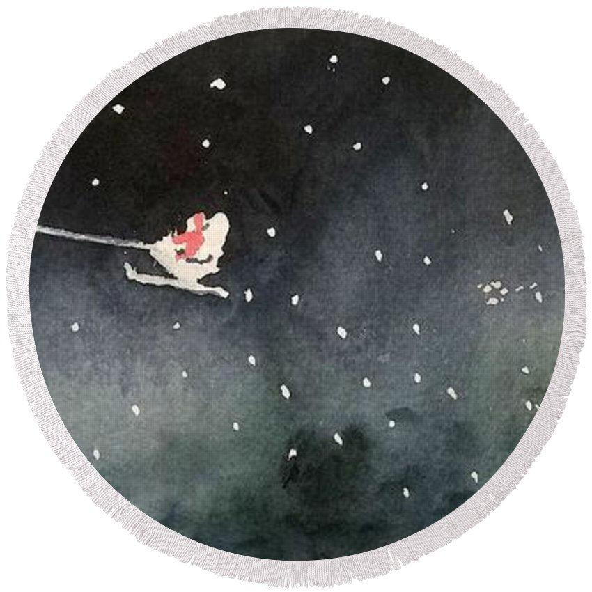 Christmas Round Beach Towel featuring the painting Santa Is Coming by Yoshiko Mishina