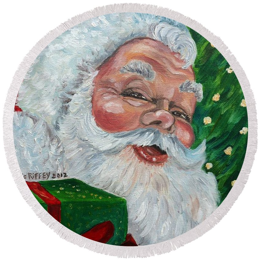 Santa Round Beach Towel featuring the painting Santa by Julie Brugh Riffey