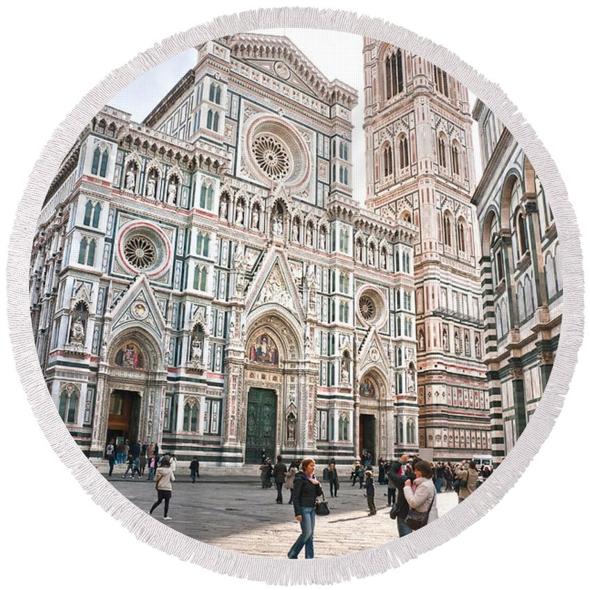 Arch Round Beach Towel featuring the photograph Santa Maria Del Fiore - Florence by Luciano Mortula