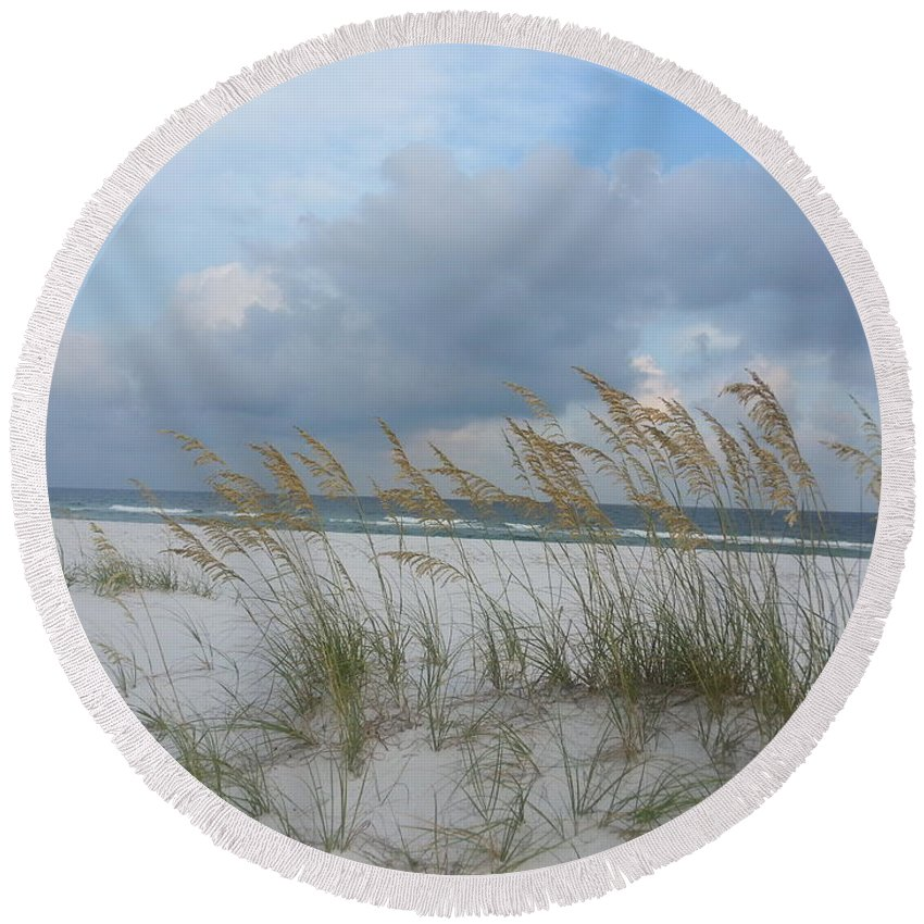 Pensacola Beach Navarre Beach Santa Rosa Island National Seashore Beach Scenery Landscape Sea Seascape Water Ocean Boating Fishing Swimming Florida Sunshine State Round Beach Towel featuring the photograph Santa Rosa Island National Seashore by Michelle Powell