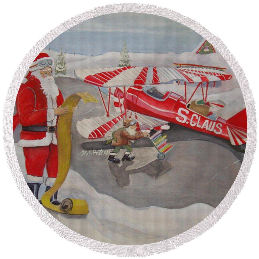 Rick Huotari Round Beach Towel featuring the painting Santa's Airport by Rick Huotari