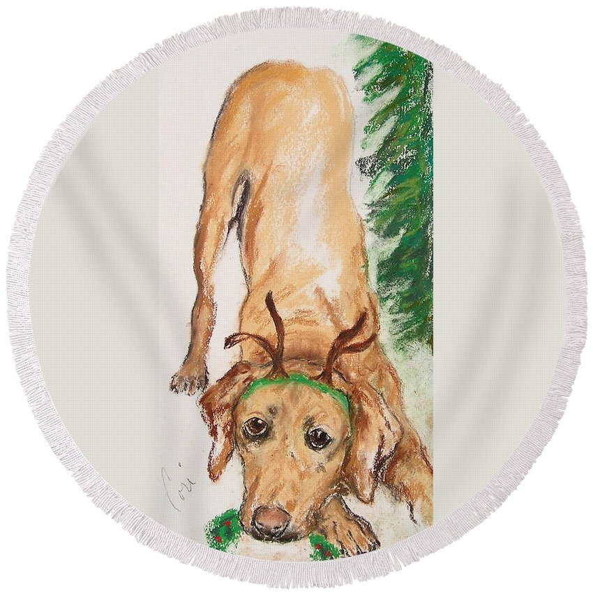 Labrador Round Beach Towel featuring the drawing Santa's Helper by Cori Solomon