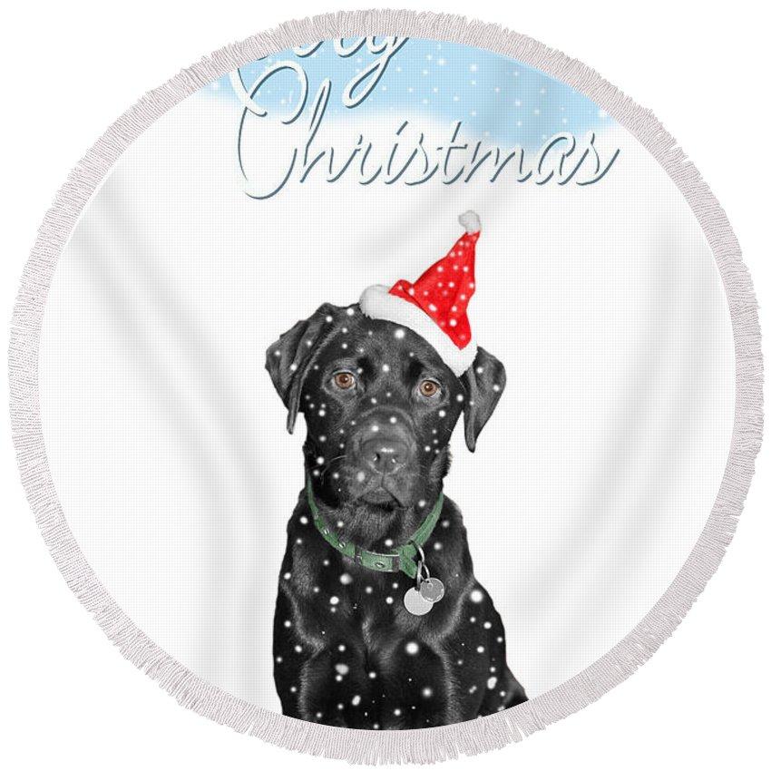 Christmas Card Round Beach Towel featuring the photograph Santa's Little Helper by Mal Bray