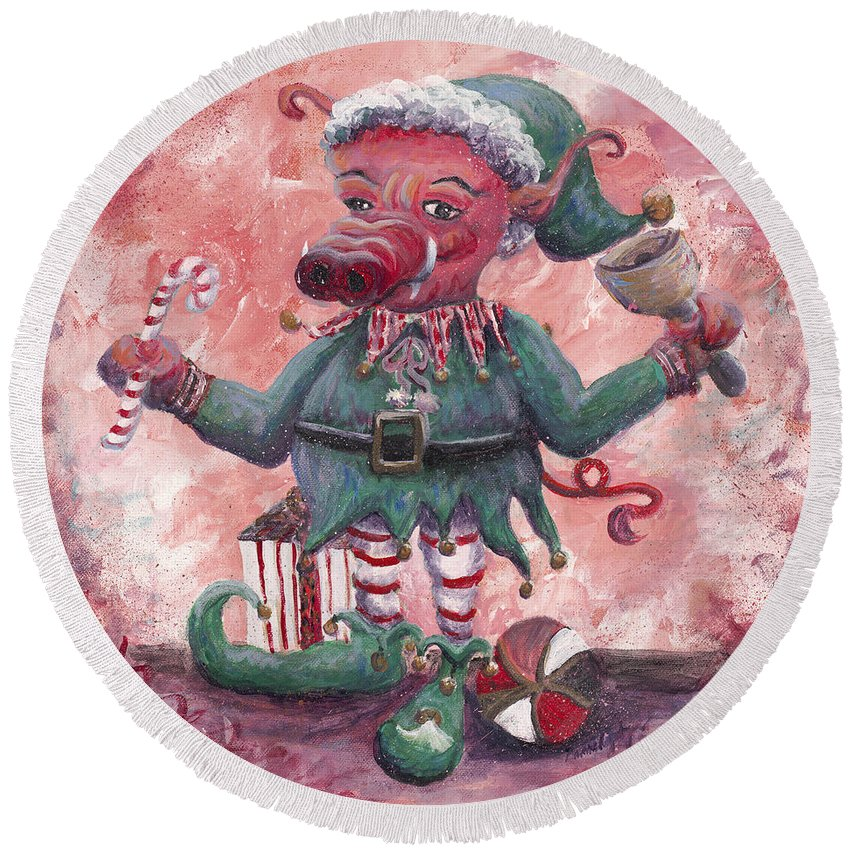 Elf Round Beach Towel featuring the painting Santa's Littlest Elf Hog by Nadine Rippelmeyer