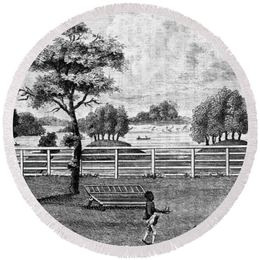 1794 Round Beach Towel featuring the painting Saratoga, New York, 1794 by Granger