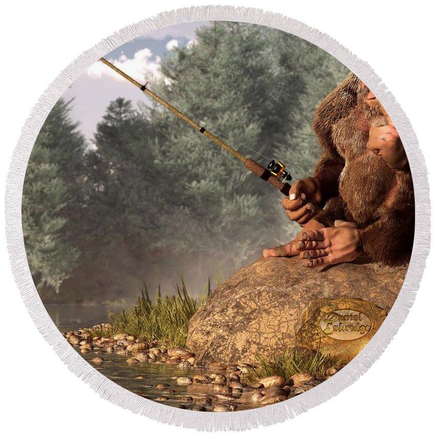 Bigfoot Round Beach Towel featuring the digital art Sasquatch Goes Fishing by Daniel Eskridge