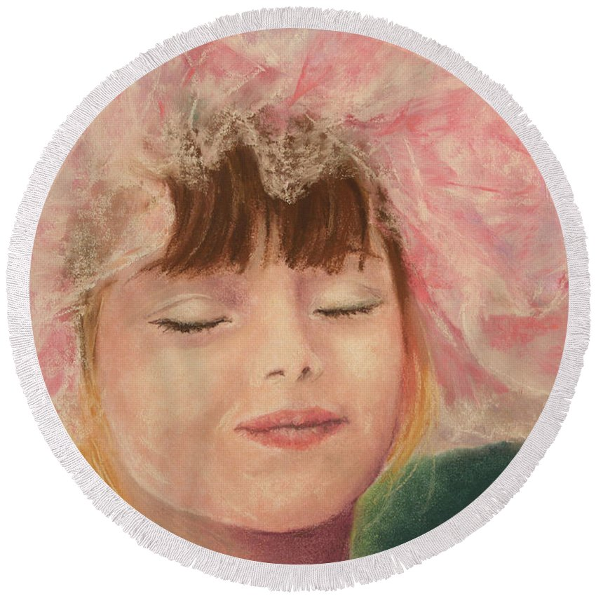 Sassy Round Beach Towel featuring the pastel Sassy In Tulle by Marna Edwards Flavell