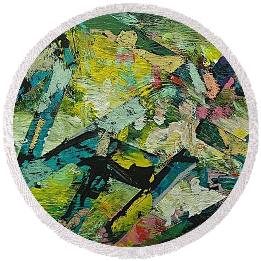 Landscape Round Beach Towel featuring the painting Saturday Night by Allan P Friedlander