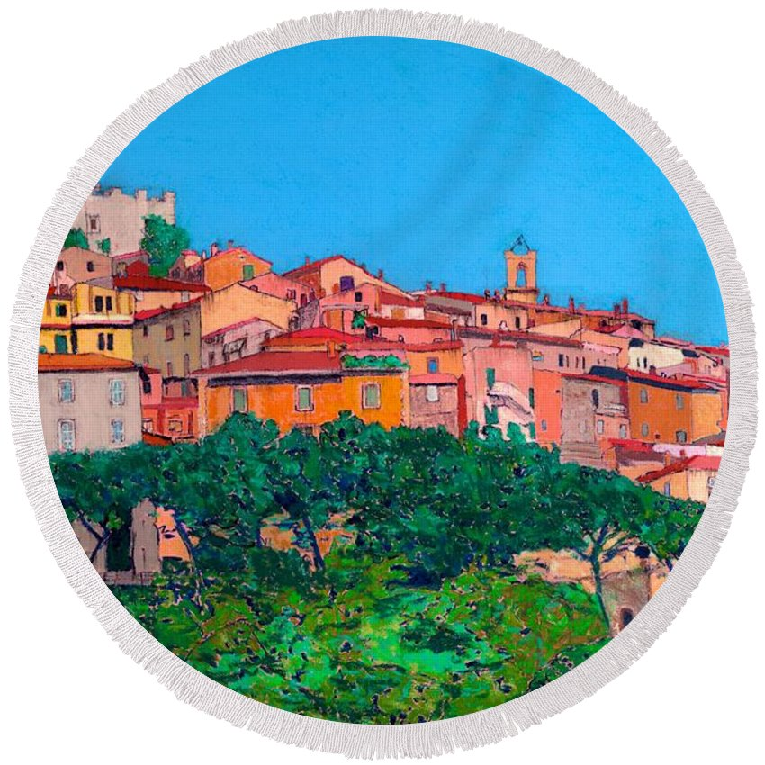 Landscape Round Beach Towel featuring the painting Saturina by Allan P Friedlander