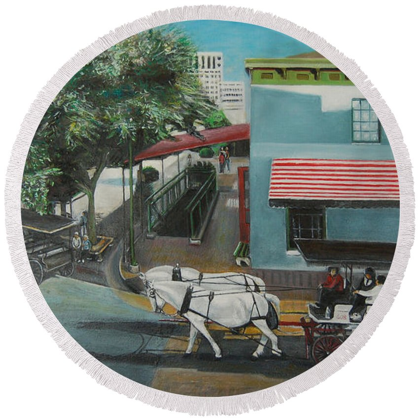 Round Beach Towel featuring the painting Savannah City Market by Jude Darrien