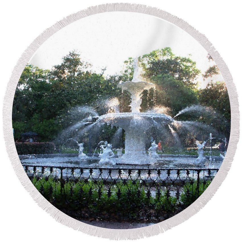Savannah Round Beach Towel featuring the photograph Savannah Georgia Forsyth Park Fountain by JG Thompson