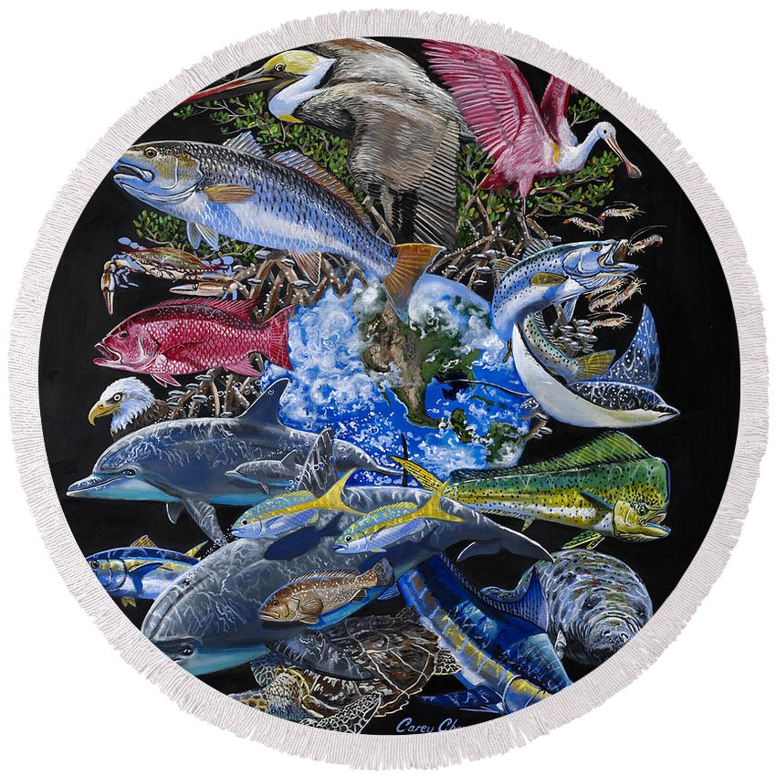 Marine Round Beach Towel featuring the painting Save Our Seas In008 by Carey Chen