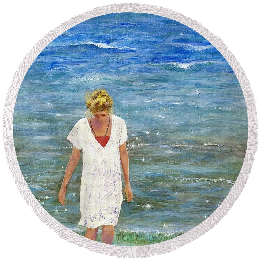 Seascape Round Beach Towel featuring the painting Savoring The Sea by Margaret Bobb