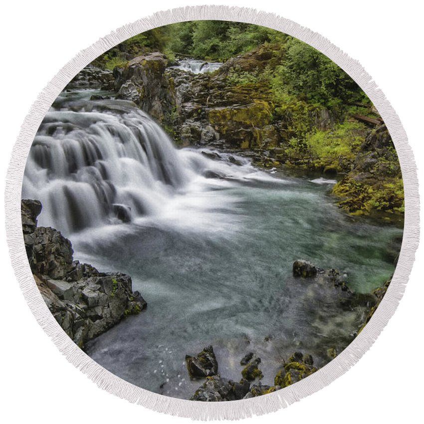 Waterfall Round Beach Towel featuring the photograph Sawmill Falls by Erika Fawcett