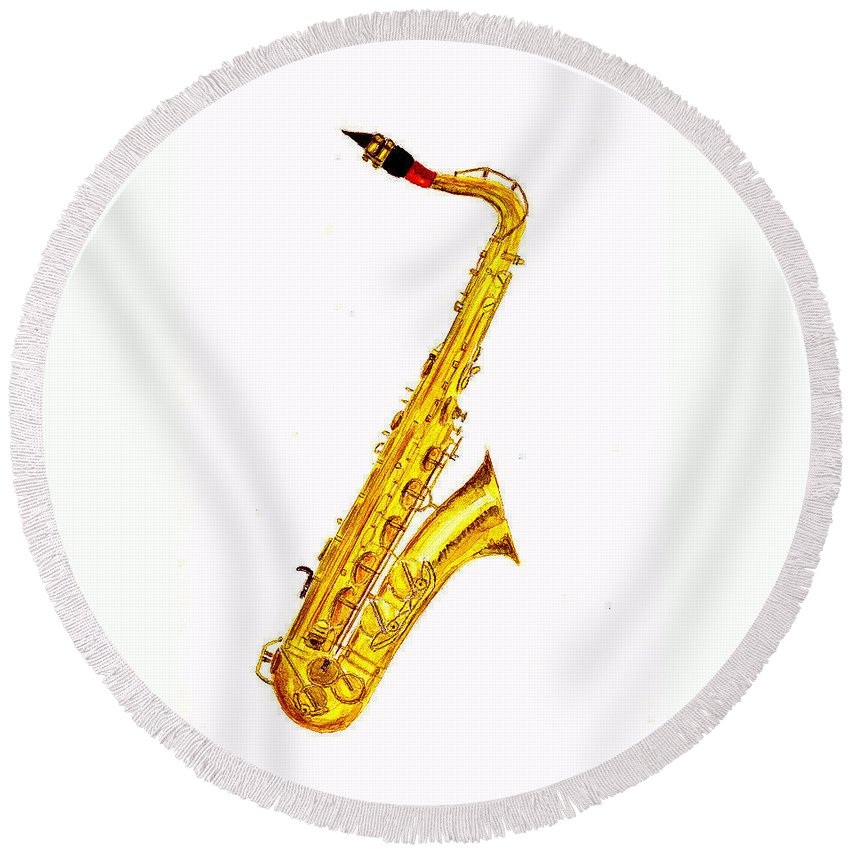 Saxophone Round Beach Towels